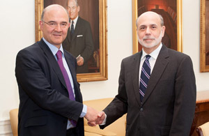 Pierre Moscovici and Ben Bernanke, Chairman of the Federal Reserve (photo Federal Reserve) - JPEG