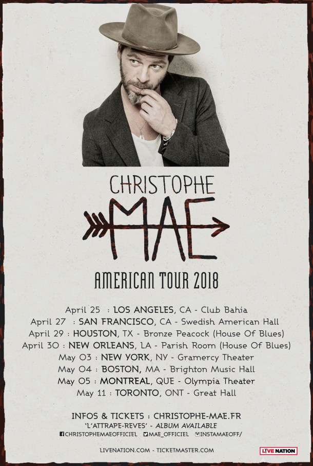 French Pop Singer Christophe Maé to perform in New Orleans